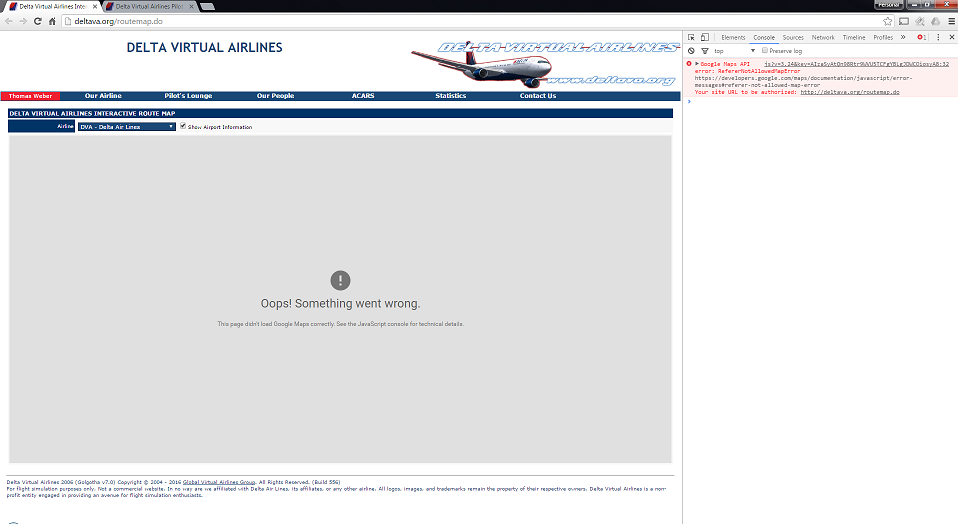 Delta Virtual Airlines Water Cooler - Route Map / ACARS Map ...